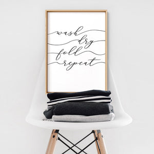 Wash Fold Dry Repeat - Art Print, Stretched Canvas or Framed Canvas Wall Art, Shown framed in a room mockup