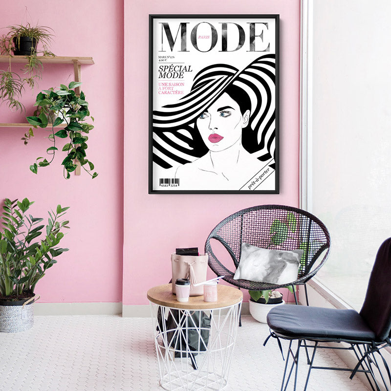 MODE French Fashion Magazine Cover - Art Print, Stretched Canvas or Framed Canvas Wall Art, Shown inside a frame