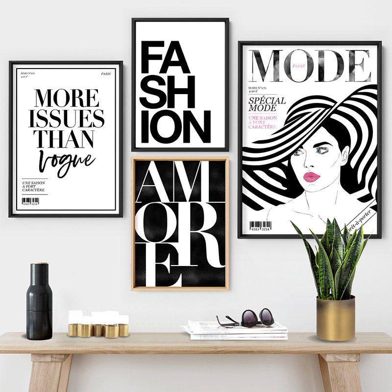 MODE French Fashion Magazine Cover - Art Print, Stretched Canvas or Framed Canvas Wall Art, Shown framed in a room mockup
