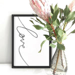 Love Script - Art Print, Stretched Canvas, or Framed Canvas Wall Art