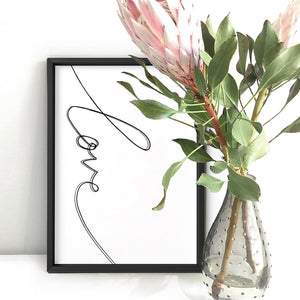 Love Script - Art Print, Stretched Canvas or Framed Canvas Wall Art, Shown inside a frame