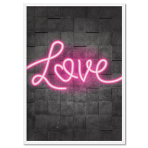 Love Neon - Art Print, Stretched Canvas, or Framed Canvas Wall Art
