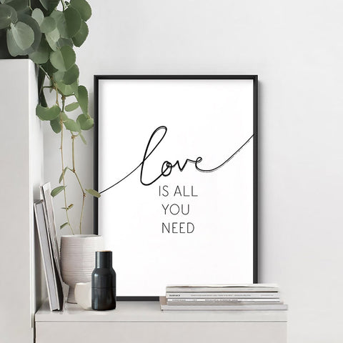 Love is all you need - Art Print, Stretched Canvas, or Framed Canvas Wall Art