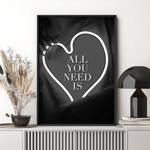 All you need is Love (neon) - Art Print, Stretched Canvas, or Framed Canvas Wall Art