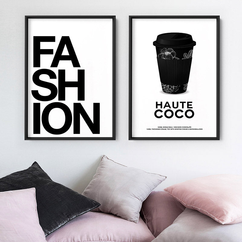 Haute Coco - Art Print, Stretched Canvas or Framed Canvas Wall Art, Shown framed in a room mockup