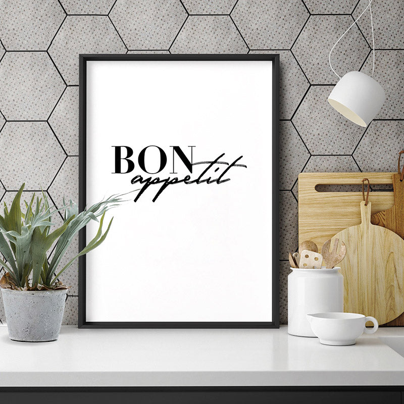 Bon Appetit - Art Print, Stretched Canvas or Framed Canvas Wall Art, Shown inside a frame
