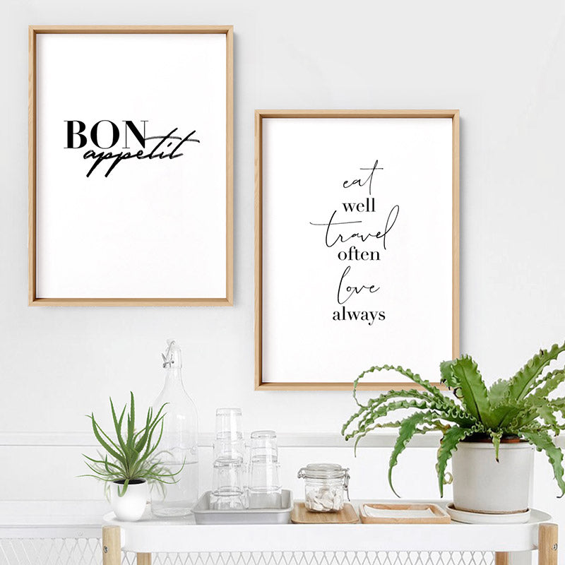 Bon Appetit - Art Print, Stretched Canvas or Framed Canvas Wall Art, Shown framed in a room mockup