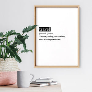 Travel Definition - Art Print, Stretched Canvas or Framed Canvas Wall Art, Shown inside a frame