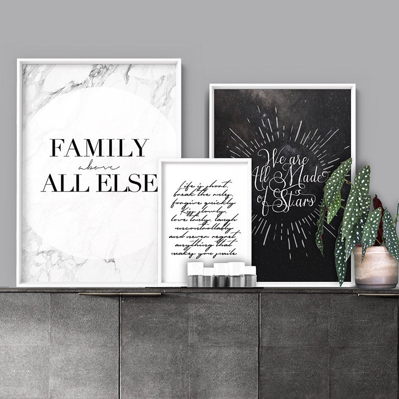 Family, above all else - Art Print, Stretched Canvas or Framed Canvas Wall Art, Shown framed in a room mockup