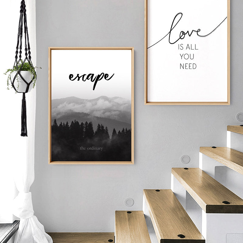Escape the ordinary - Art Print, Stretched Canvas or Framed Canvas Wall Art, Shown framed in a room mockup