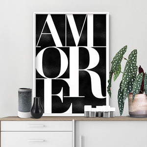 Amore - Art Print, Stretched Canvas or Framed Canvas Wall Art, Shown inside a frame