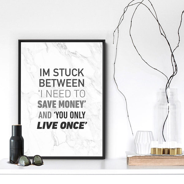 I'm Stuck Between - Art Print, Stretched Canvas, or Framed Canvas Wall Art