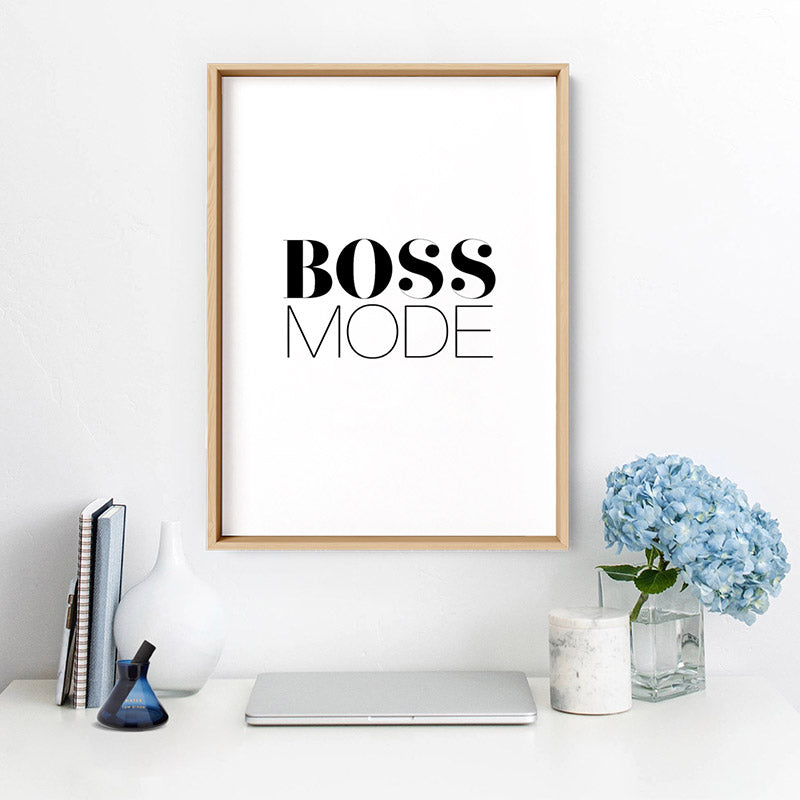 Boss Mode - Art Print, Stretched Canvas or Framed Canvas Wall Art, Shown inside a frame
