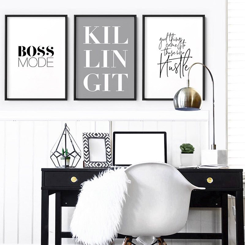 Boss Mode - Art Print, Stretched Canvas or Framed Canvas Wall Art, Shown framed in a room mockup