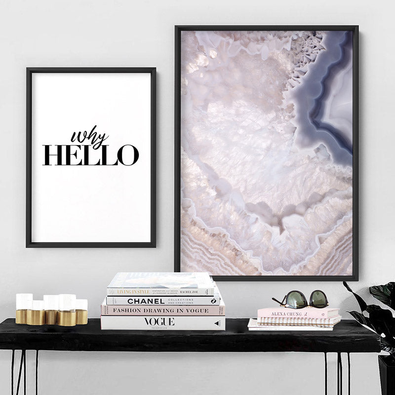 Why Hello - Art Print, Stretched Canvas or Framed Canvas Wall Art, Shown framed in a room mockup