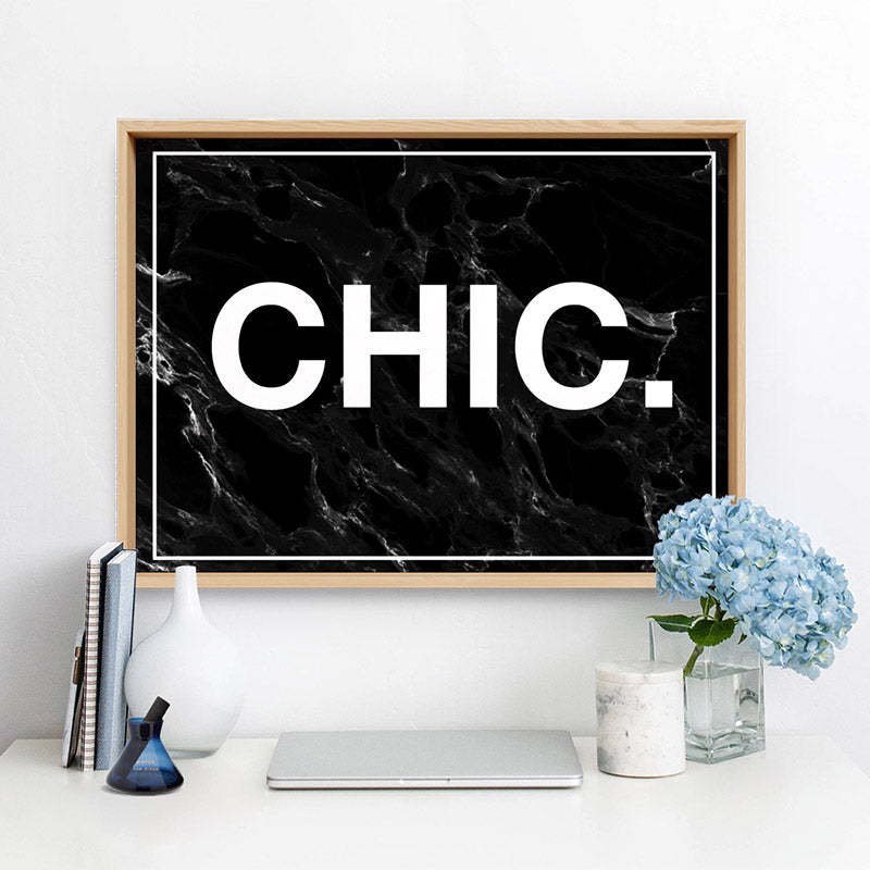CHIC Word Typography - Art Print, Stretched Canvas or Framed Canvas Wall Art, Shown inside a frame