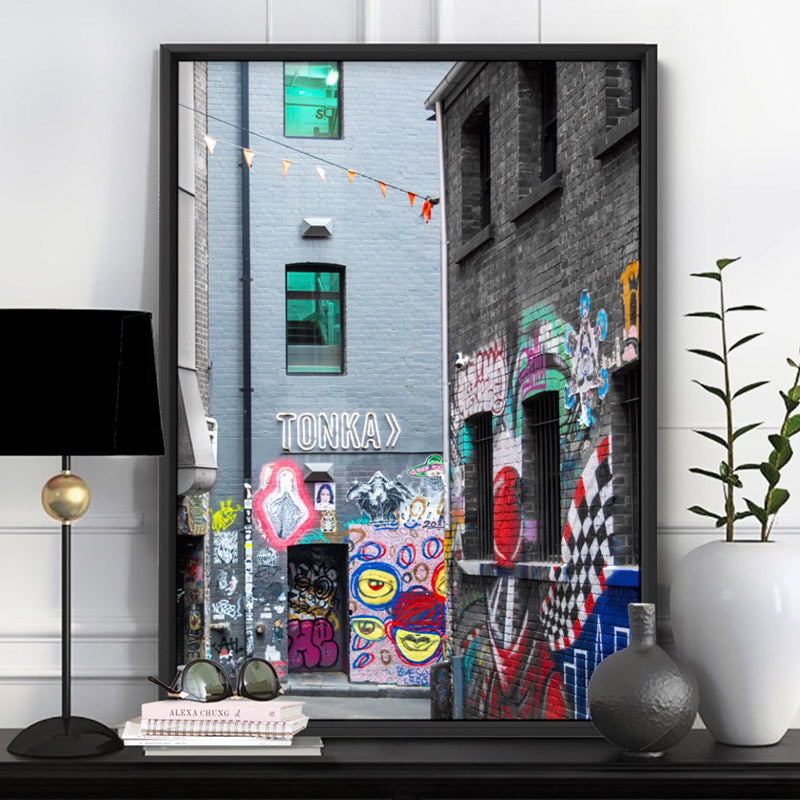 Load image into Gallery viewer, Melbourne Street Art / Hosier Lane TONKA - Art Print, Stretched Canvas or Framed Canvas Wall Art, Shown inside a frame
