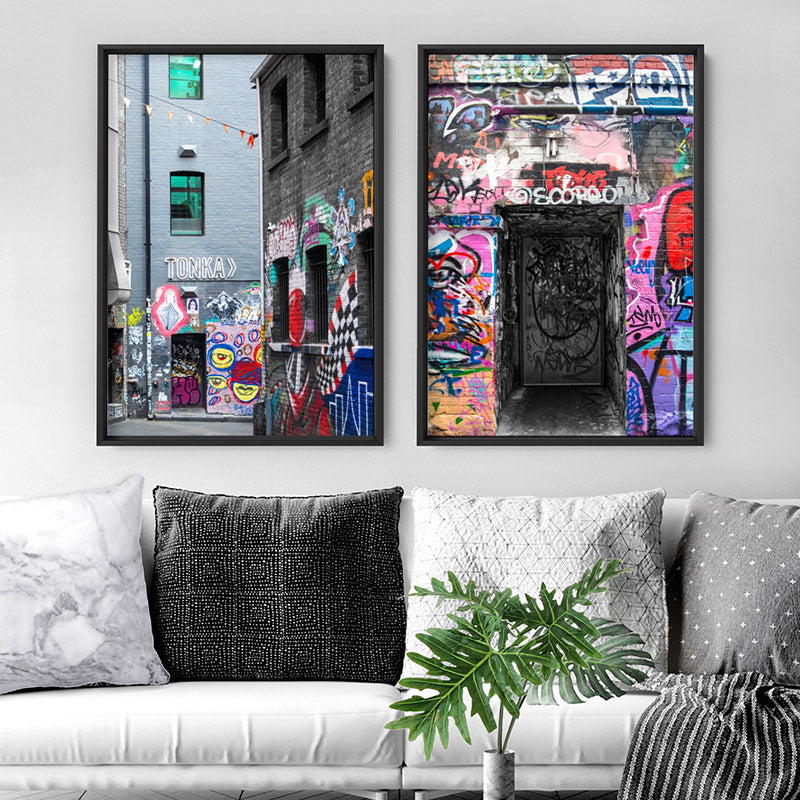 Load image into Gallery viewer, Melbourne Street Art / Hosier Lane TONKA - Art Print, Stretched Canvas or Framed Canvas Wall Art, Shown framed in a room mockup