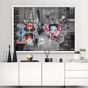 Melbourne Street Art / Hosier Lane Betty Boop - Art Print, Stretched Canvas or Framed Canvas Wall Art, Shown inside a frame