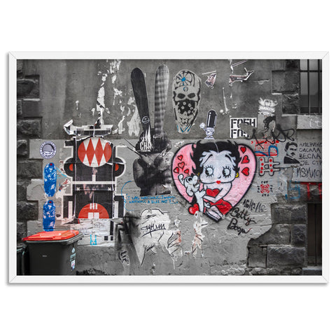 Melbourne Street Art / Hosier Lane Betty Boop - Art Print, Stretched Canvas, or Framed Canvas Wall Art
