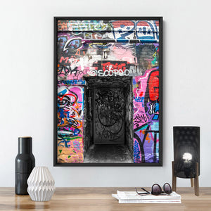 Melbourne Street Art / Hosier Lane Door I - Art Print, Stretched Canvas or Framed Canvas Wall Art, Shown inside a frame