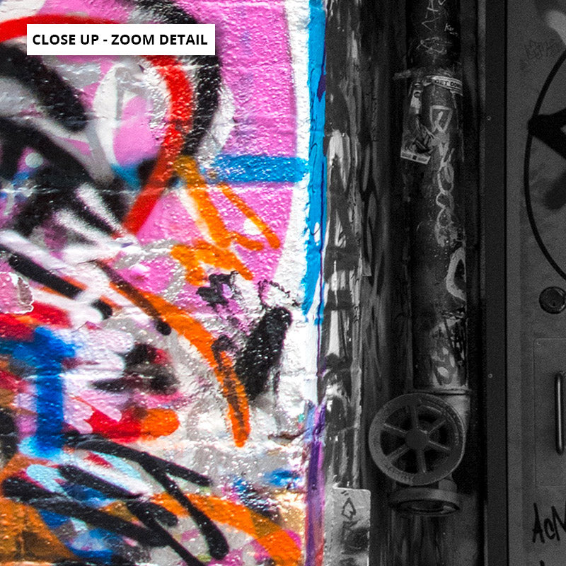 Melbourne Street Art / Hosier Lane Door I - Art Print, Stretched Canvas or Framed Canvas Wall Art, Close up View of Print Resolution