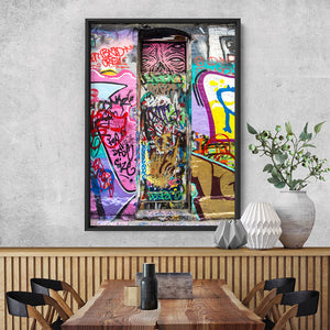 Melbourne Street Art / Hosier Lane Door II - Art Print, Stretched Canvas or Framed Canvas Wall Art, Shown inside a frame