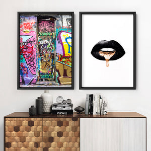 Melbourne Street Art / Hosier Lane Door II - Art Print, Stretched Canvas or Framed Canvas Wall Art, Shown framed in a room mockup