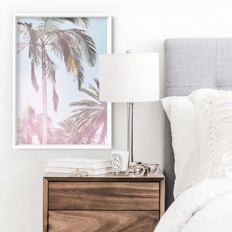 California Pastels / Palm Views - Art Print, Stretched Canvas or Framed Canvas Wall Art, Shown inside a frame