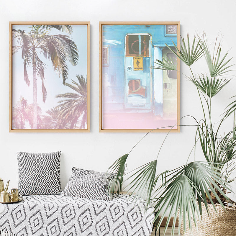 California Pastels / Palm Views - Art Print, Stretched Canvas or Framed Canvas Wall Art, Shown framed in a room mockup