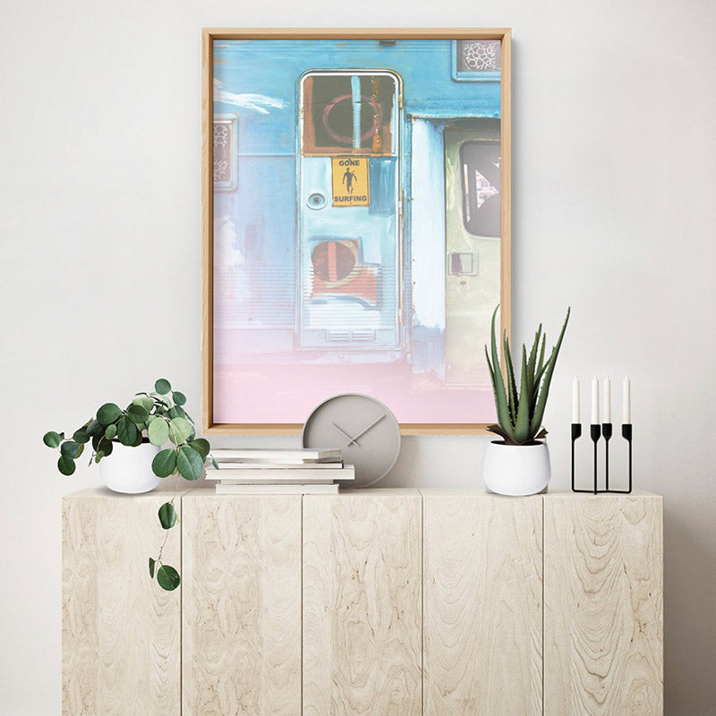 California Pastels / Gone Surfing - Art Print, Stretched Canvas or Framed Canvas Wall Art, Shown inside a frame