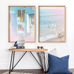 California Pastels / Gone Surfing - Art Print, Stretched Canvas or Framed Canvas Wall Art, Shown framed in a room mockup