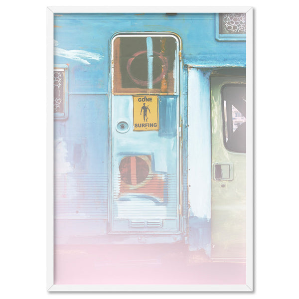 California Pastels / Gone Surfing - Art Print, Stretched Canvas, or Framed Canvas Wall Art