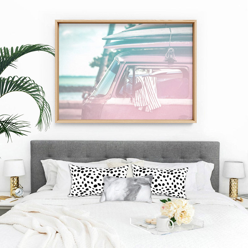 California Pastels / Kombi - Art Print, Stretched Canvas, or Framed Canvas Wall Art
