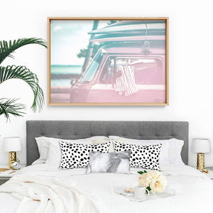 California Pastels / Kombi - Art Print, Stretched Canvas or Framed Canvas Wall Art, Shown inside a frame