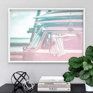 California Pastels / Kombi - Art Print, Stretched Canvas or Framed Canvas Wall Art, Shown framed in a room mockup