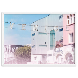 California Pastels / Venice Beach Sign - Art Print, Stretched Canvas, or Framed Canvas Wall Art