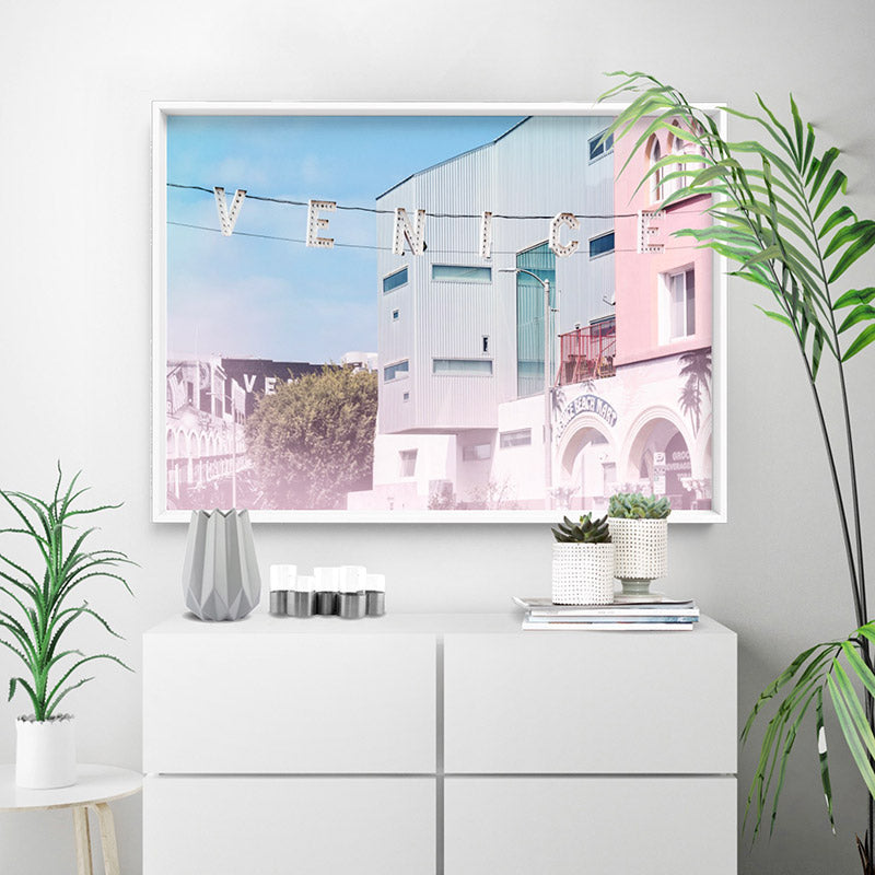 Load image into Gallery viewer, California Pastels / Venice Beach Sign - Art Print, Stretched Canvas or Framed Canvas Wall Art, Shown inside a frame