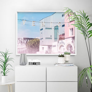California Pastels / Venice Beach Sign - Art Print, Stretched Canvas or Framed Canvas Wall Art, Shown inside a frame