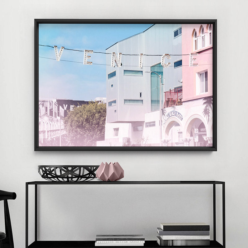 California Pastels / Venice Beach Sign - Art Print, Stretched Canvas or Framed Canvas Wall Art, Shown framed in a room mockup