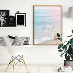 California Pastels / Into the Surf - Art Print, Stretched Canvas, or Framed Canvas Wall Art