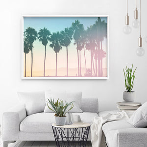 Load image into Gallery viewer, California Pastels / Palm Horizon - Art Print, Stretched Canvas or Framed Canvas Wall Art, Shown inside a frame