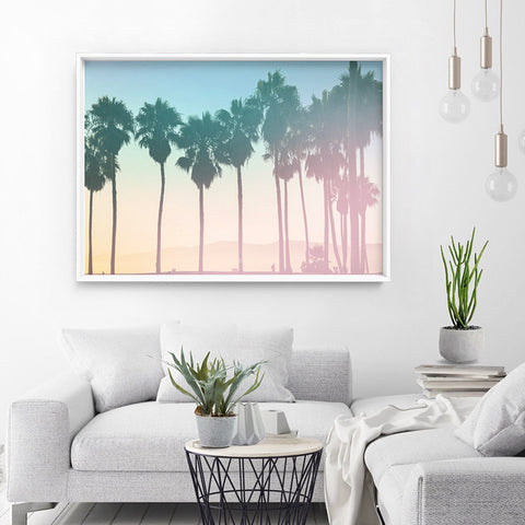 California Pastels / Palm Horizon - Art Print, Stretched Canvas, or Framed Canvas Wall Art