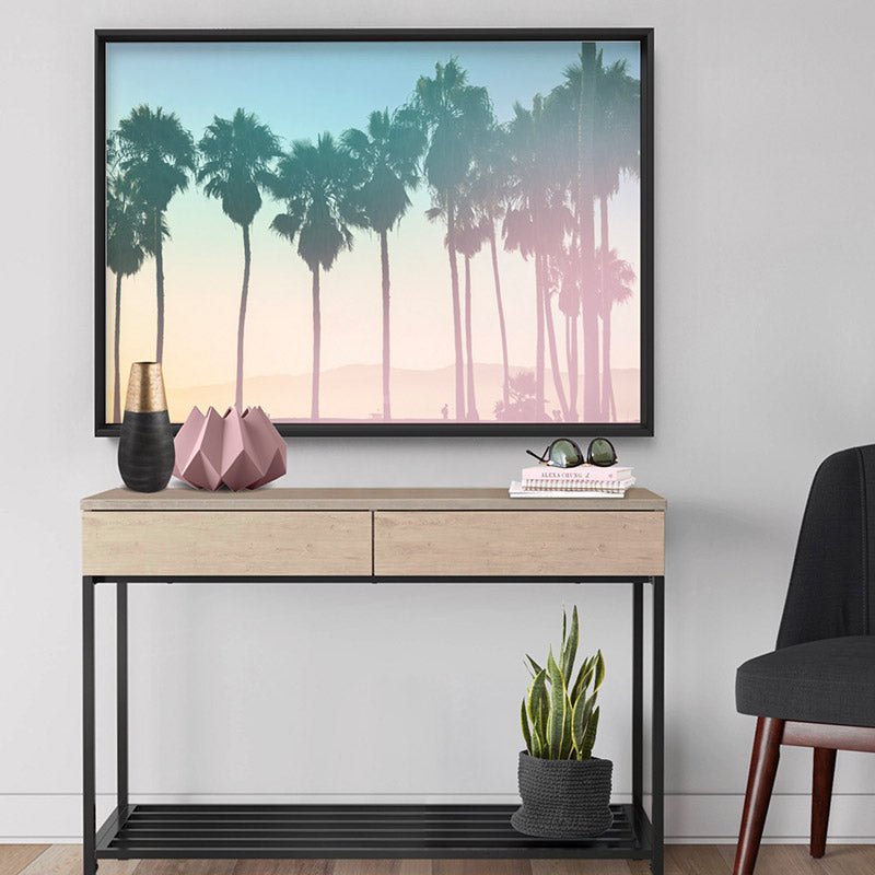 Load image into Gallery viewer, California Pastels / Palm Horizon - Art Print, Stretched Canvas or Framed Canvas Wall Art, Shown framed in a room mockup
