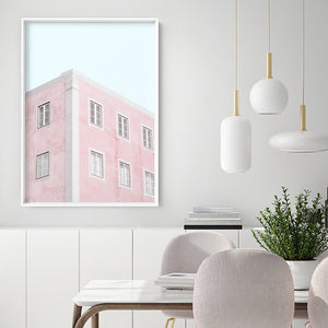 Palm Springs Pastels / Pretty in Pink Apartments - Art Print, Stretched Canvas or Framed Canvas Wall Art, Shown inside a frame