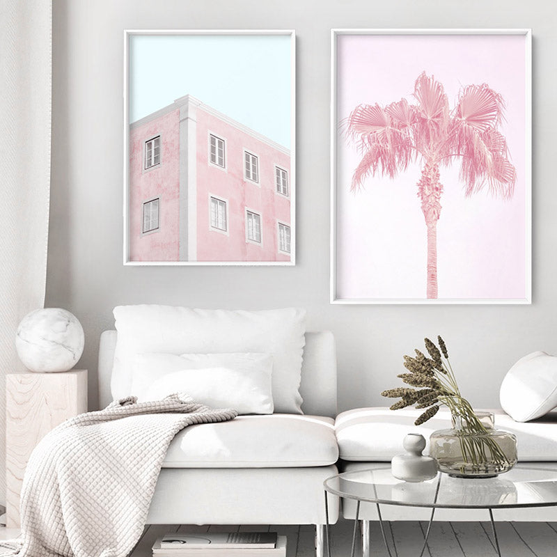 Palm Springs Pastels / Pretty in Pink Apartments - Art Print, Stretched Canvas or Framed Canvas Wall Art, Shown framed in a room mockup