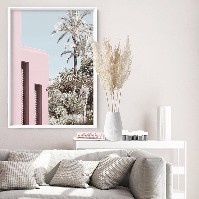 Palm Springs Pastels / Pretty in Pink Resort - Art Print, Stretched Canvas or Framed Canvas Wall Art, Shown inside a frame
