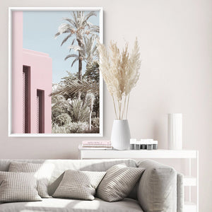 Load image into Gallery viewer, Palm Springs Pastels / Pretty in Pink Resort - Art Print, Stretched Canvas or Framed Canvas Wall Art, Shown inside a frame