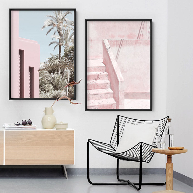 Load image into Gallery viewer, Palm Springs Pastels / Pretty in Pink Resort - Art Print, Stretched Canvas or Framed Canvas Wall Art, Shown framed in a room mockup