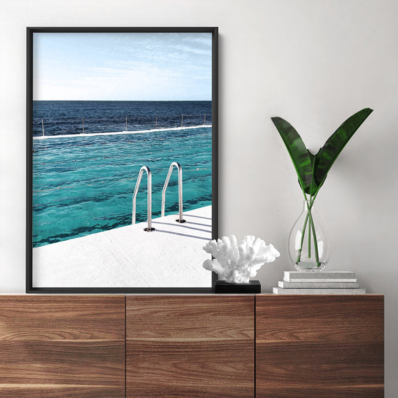 Bondi Icebergs Pool V - Art Print, Stretched Canvas or Framed Canvas Wall Art, Shown inside a frame